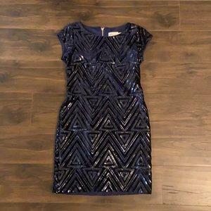 Navy Blue Velvet and Sequin Cocktail Dress